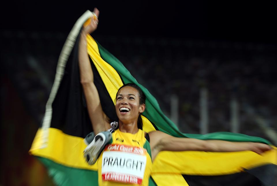 Athletics - Gold Coast 2018 Commonwealth Games - Women's 3000m Steeplechase Final - Carrara Stadium - Gold Coast, Australia - April 11, 2018. Aisha Praught of Jamaica celebrates after winning the race. REUTERS/Jeremy Lee     TPX IMAGES OF THE DAY