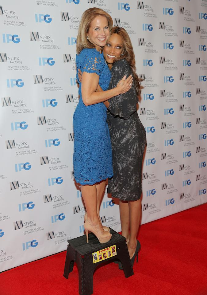 NEW YORK, NY - APRIL 23:  (L-R) Katie Couric and Tyra Banks attend the 2012 Matrix Awards Luncheon at Waldorf Astoria Hotel on April 23, 2012 in New York City.  (Photo by Astrid Stawiarz/Getty Images)