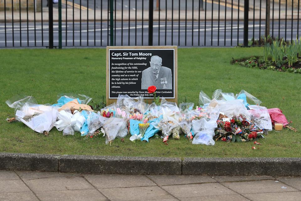 A memorial plaque in Keighley, West Yorkshire, on the day of Captain Sir Tom Moore's funeral. Picture date: Saturday February 27, 2021. (Photo by Danny Lawson/PA Images via Getty Images)