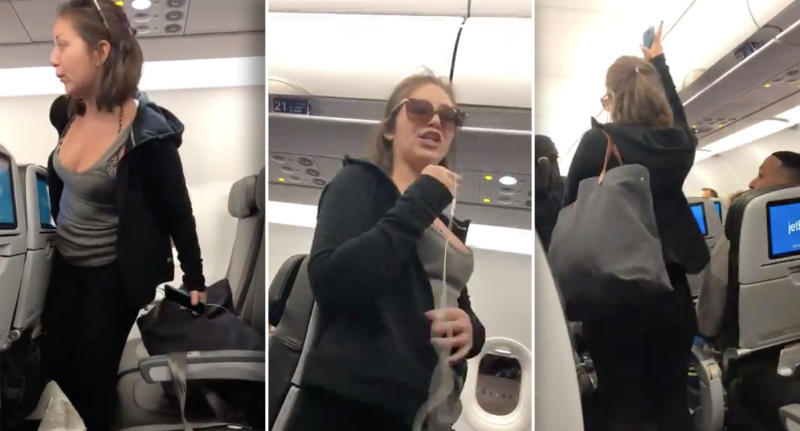 Woman arrested after video shows her spitting, yelling at passengers on flight