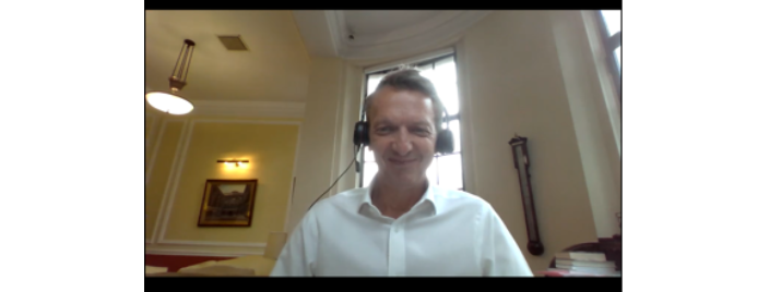 Andy Haldane on a call with Bronwen Maddox, Director of the Institute for Government. Photo: IfG