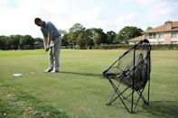 """<p><strong>jef world of golf</strong></p><p>amazon.com</p><p><strong>$34.99</strong></p><p><a href=""""https://www.amazon.com/dp/B006ZD19F6?tag=syn-yahoo-20&ascsubtag=%5Bartid%7C10055.g.20685099%5Bsrc%7Cyahoo-us"""" rel=""""nofollow noopener"""" target=""""_blank"""" data-ylk=""""slk:Shop Now"""" class=""""link rapid-noclick-resp"""">Shop Now</a></p><p>This is definitely one of the more fun training aids to help him sharpen his skills. He can practice his chipping without having to chase down any balls thanks to this collapsible net that he can bring anywhere.</p>"""