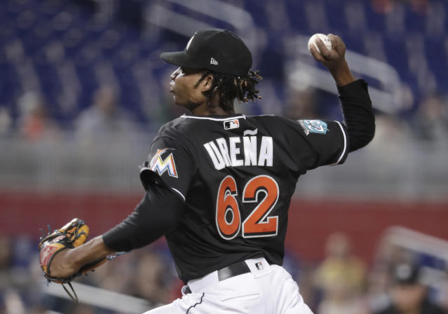 Miami Marlins starting pitcher Jose Urena (62) delivers during the first inning of a baseball game against the Washington Nationals, Friday, May 25, 2018, in Miami. (AP Photo/Lynne Sladky)