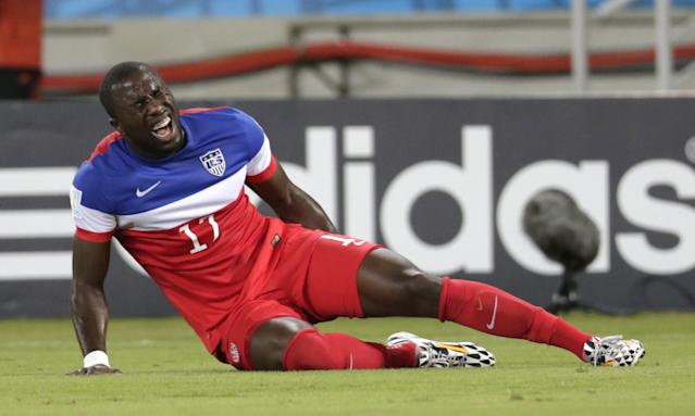 United States' Jozy Altidore grimaces after pulling up injured during the group G World Cup soccer match between Ghana and the United States at the Arena das Dunas in Natal, Brazil, Monday, June 16, 2014. (AP Photo/Dolores Ochoa)