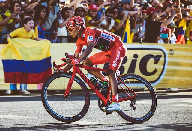 Nairo Quintana rides a Canyon bike in the Vuelta a España. (Canyon)