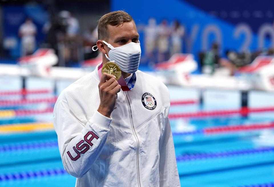 Caeleb Dressel, pictured, overcame Kyle Chalmers by just 0.06 seconds (Adam Davy/PA) (PA Wire)