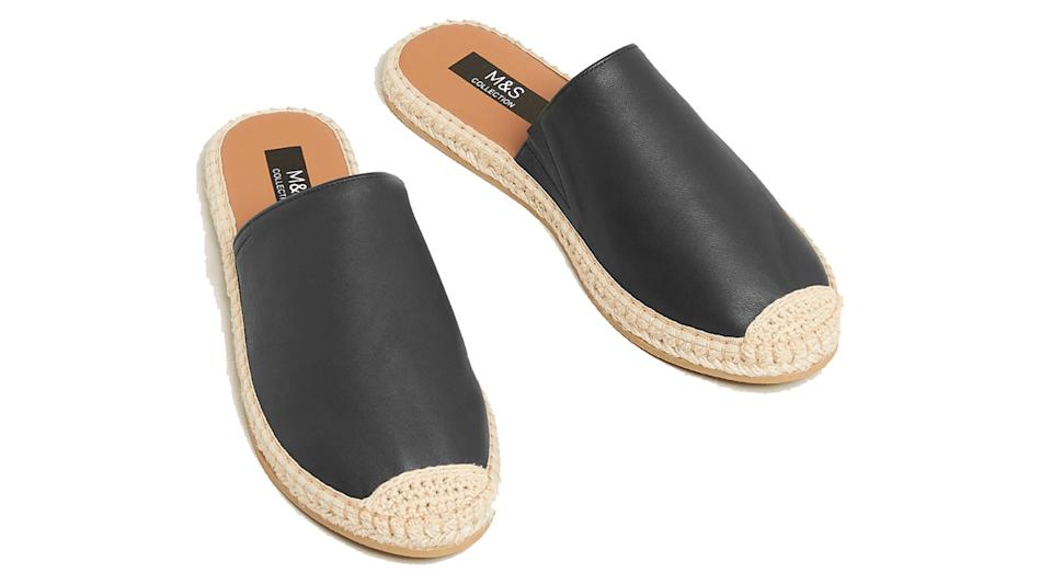 Leather Flat Espadrille Mules