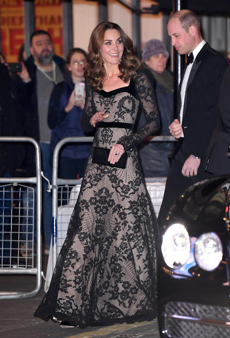 Kate Middleton stunned in a lace gown at the Royal Variety Performance on Monday night. Photo: Getty