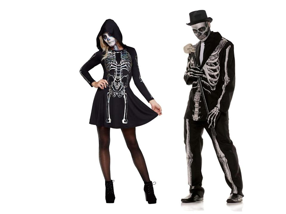 "<p><strong>Spirit Halloween</strong></p><p>spirithalloween.com</p><p><strong>$34.99</strong></p><p><a href=""https://go.redirectingat.com?id=74968X1596630&url=https%3A%2F%2Fwww.spirithalloween.com%2Fproduct%2Fhalloween-costumes%2Fcostume-themes%2Fskeletons%2Fskeleton-hooded-dress%2Fpc%2F4742%2Fc%2F4833%2Fsc%2F4793%2F148252.uts%3FcurrentIndex%3D24&sref=https%3A%2F%2Fwww.goodhousekeeping.com%2Fholidays%2Fhalloween-ideas%2Fg4564%2Fscary-halloween-costumes%2F"" rel=""nofollow noopener"" target=""_blank"" data-ylk=""slk:Shop Now"" class=""link rapid-noclick-resp"">Shop Now</a></p><p>This skeleton dress and tuxedo suit is a so-easy-it's-scary last-minute costume idea. Just remember to <a href=""https://www.goodhousekeeping.com/holidays/halloween-ideas/a28088746/skeleton-face-paint-tutorial/"" rel=""nofollow noopener"" target=""_blank"" data-ylk=""slk:complete the look with skull makeup"" class=""link rapid-noclick-resp"">complete the look with skull makeup</a> and teased hair. </p>"