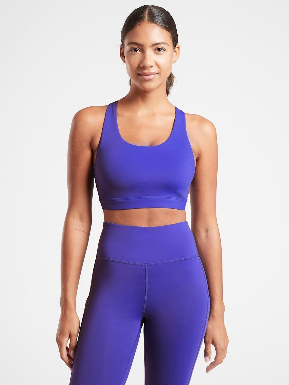 <p>The <span>Athleta Ultimate Bra</span> ($49) has earned its name. If you're someone who loves higher-impact workouts, this is for you. It's made of supportive compression fabric that will keep you held in through jumps, lunges, and squats.</p>