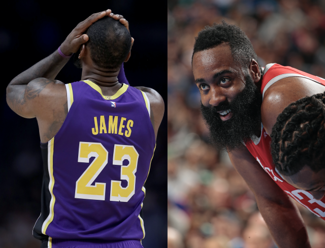 """James Harden may have trolled <a class=""""link rapid-noclick-resp"""" href=""""/nba/players/3704/"""" data-ylk=""""slk:LeBron James"""">LeBron James</a> by wearing suit shorts. (Images via Getty)"""