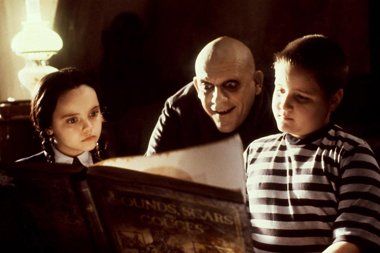 Wednesday (Christina Ricci), Fester (Christopher Lloyd) and Pugsley (Jimmy Workman) spend some quality Addams Family time in The Addams Family (Photo: Paramount/Courtesy Everett Collection)