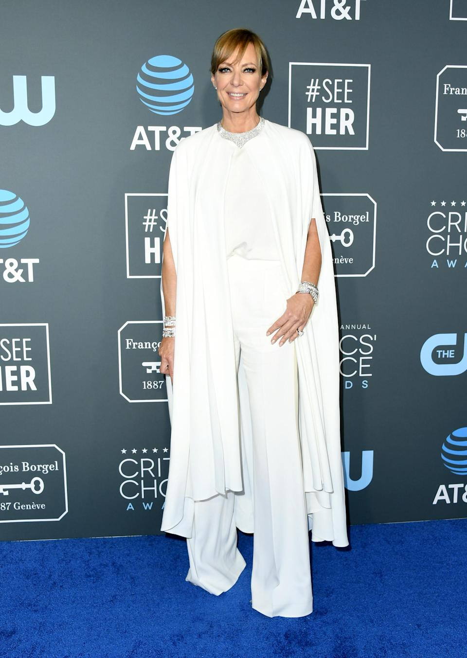 <p>I, Tonya star Allison Janney stuck to the ethereal fashion theme with her draped pantsuit look. Source: Getty </p>