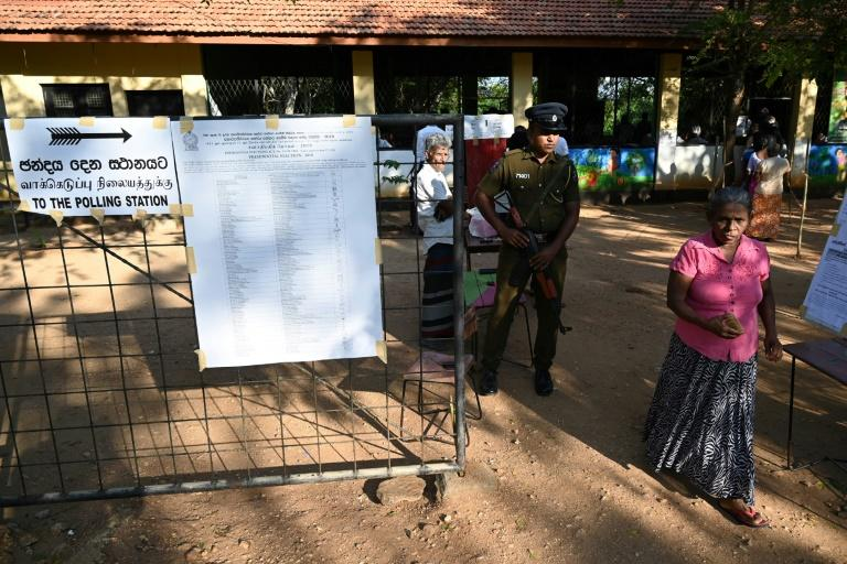 There were long queues outside polling stations even before voting in Sri Lankan presidential polls began