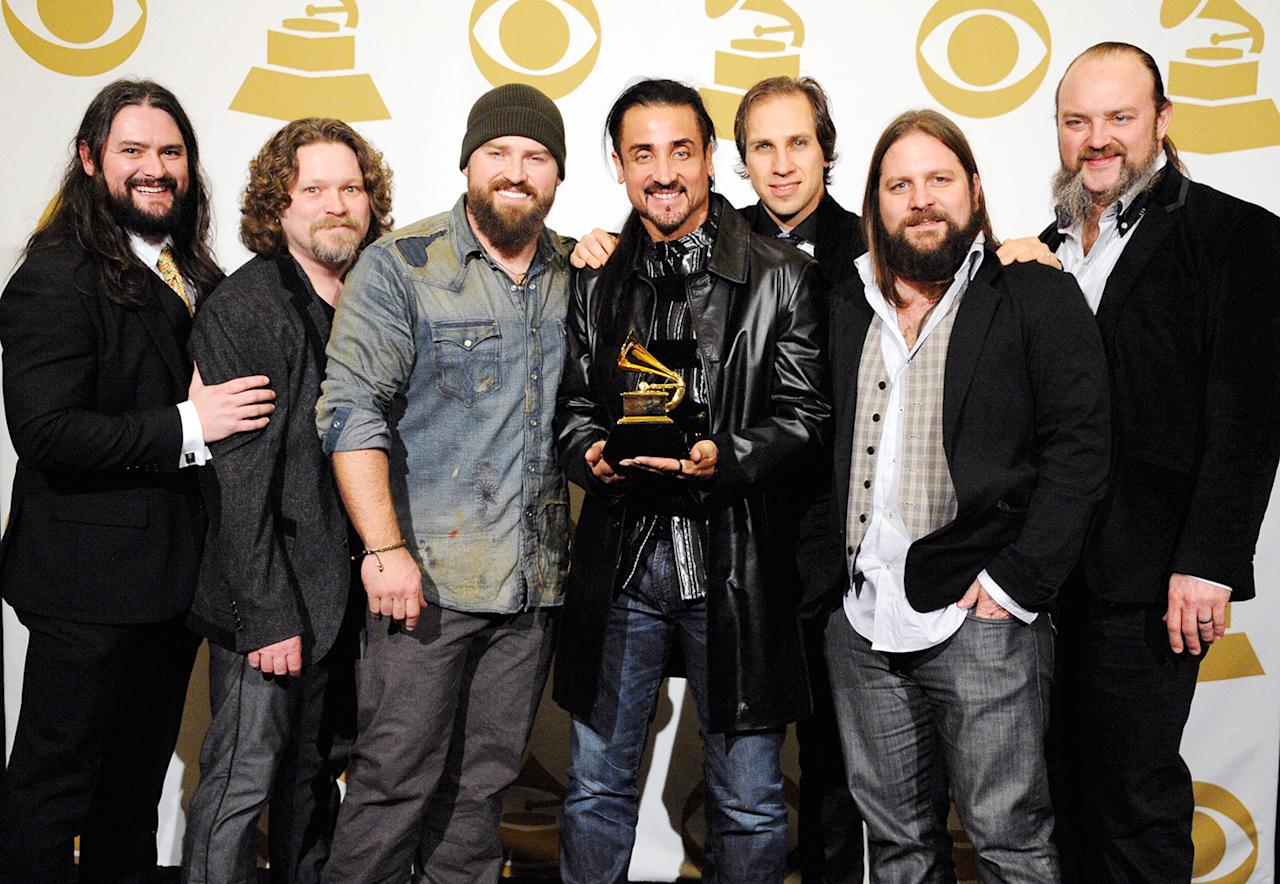 Zac Brown Band poses in the press room during the 55th Annual GRAMMY Awards at STAPLES Center on February 10, 2013 in Los Angeles, California.  (Photo by Steve Granitz/WireImage)