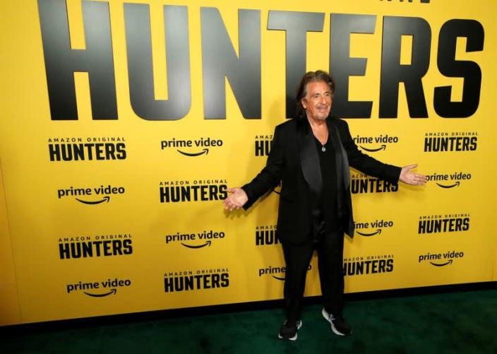 """Cast member Pacino poses at a premiere for the television series """"Hunters"""" in Los Angeles"""
