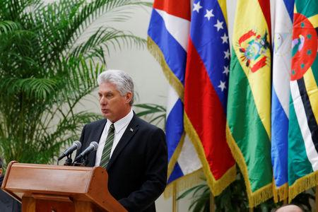 Cuba's President Miguel Diaz-Canel speaks during the 16th Bolivarian Alliance for the Peoples of Our America-Peoples Trade Agreement Summit in Havana