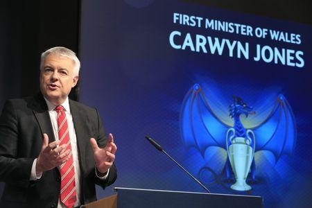 FILE PHOTO: Football Soccer - UEFA Champions League Semi-Final Draw - Nyon, Switzerland - 21/4/17 First Minister of Wales Carwyn Jones speaks before the UEFA Champions League draw of the semi-finals Reuters / Pierre Albouy Livepic