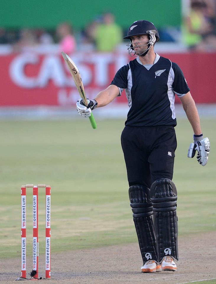 POTCHEFSTROOM, SOUTH AFRICA - JANUARY 25:  James Franklin of New Zealand celebrates 50 runs during the 3rd One Day International match between South Africa and New Zealand at Senwes Park on January 25, 2013 in Potchefstroom, South Africa.  (Photo by Lee Warren/Gallo Images/Getty Images)