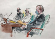 In this courtroom artist sketch Tahawwur Rana, middle, appears with his attorneys during an extradition hearing in federal US court in Los Angeles, Thursday, June 24, 2021. A federal judge is weighing whether Rana, a former Chicago businessman, will be extracted to India in connection with his alleged involvement in the 2008 Mumbai terrorist attack in which 166 people, including six Americans were killed. (Bill Robles for AP)