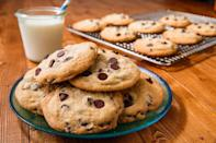 """<p>Many chocolate chip cookie recipes call for even parts white and brown sugar, but for that rich, chewy, caramel-y flavour, tilt the scales, using a little more brown sugar.</p><p>Get the <a href=""""https://www.delish.com/uk/cooking/recipes/a28829642/chocolate-chip-cookies-recipe/"""" rel=""""nofollow noopener"""" target=""""_blank"""" data-ylk=""""slk:Chocolate Chip Cookies"""" class=""""link rapid-noclick-resp"""">Chocolate Chip Cookies</a> recipe.</p>"""