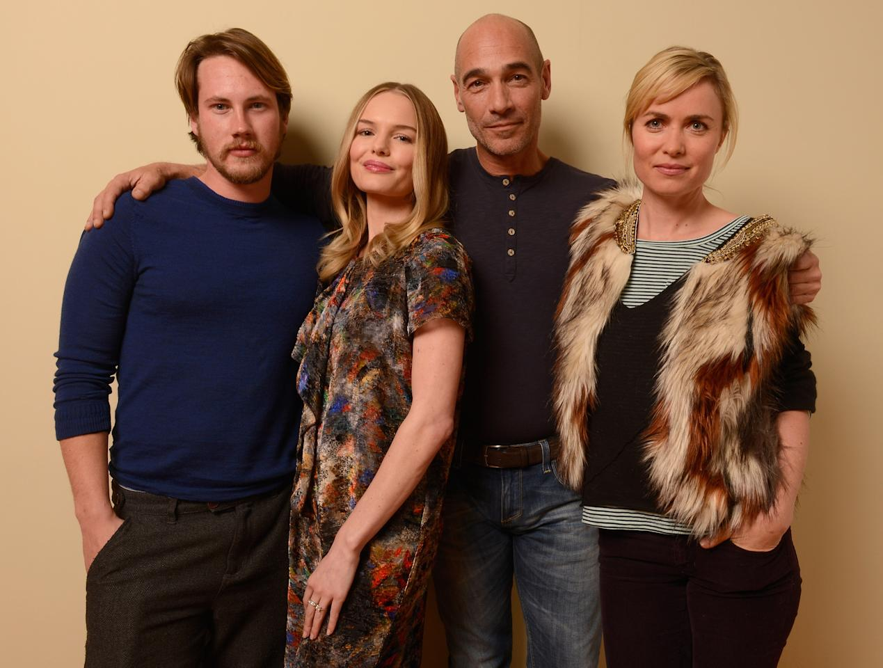 PARK CITY, UT - JANUARY 22:  (L-R) Actors John Robinson, Kate Bosworth, Jean-Marc Barr and Radha Mitchell pose for a portrait during the 2013 Sundance Film Festival at the Getty Images Portrait Studio at Village at the Lift on January 22, 2013 in Park City, Utah.  (Photo by Larry Busacca/Getty Images)