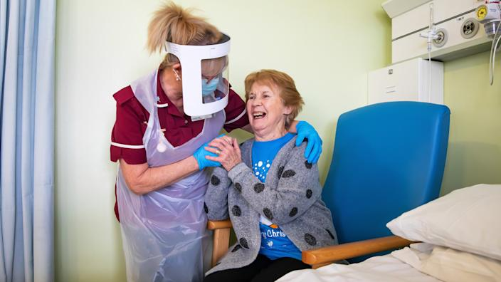 Margaret Keenan, 90, at University Hospital, Coventry - the first UK patient to receive the Pfizer-BioNTech Covid-19 vaccine - December 2020
