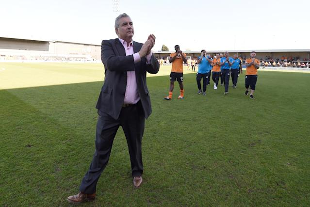 "Soccer Football - League Two - Barnet vs Chesterfield - The Hive, London, Britain - May 5, 2018 Barnet chairman Anthony Kleanthous applauds their fans after the match as they are relegated from the Football League Action Images/Adam Holt EDITORIAL USE ONLY. No use with unauthorized audio, video, data, fixture lists, club/league logos or ""live"" services. Online in-match use limited to 75 images, no video emulation. No use in betting, games or single club/league/player publications. Please contact your account representative for further details."