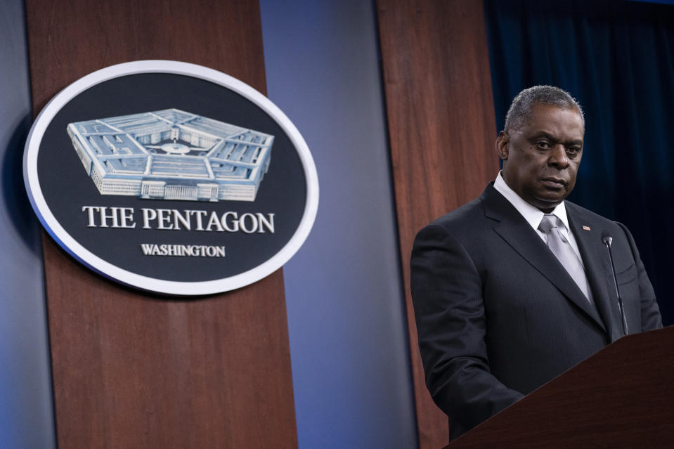 FILE - In this Feb. 19, 2021, file photo Secretary of Defense Lloyd Austin listens to a question as he speaks during a media briefing at the Pentagon in Washington. Secretary of State Antony Blinken and Austin are heading to Japan and South Korea for four days of talks starting Monday, March 15, as the administration seeks to shore up partnerships with the two key regional treaty allies. (AP Photo/Alex Brandon, File)