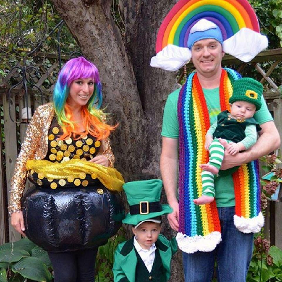 """<p>This family costume idea is creative, colorful, and cohesive. Mom and Dad can be the rainbow and pot of gold, while the little ones can go as leprechauns. </p><p><a class=""""link rapid-noclick-resp"""" href=""""https://www.amazon.com/s?k=Luck+of+the+Irish+costume&ref=nb_sb_noss&tag=syn-yahoo-20&ascsubtag=%5Bartid%7C2089.g.22530616%5Bsrc%7Cyahoo-us"""" rel=""""nofollow noopener"""" target=""""_blank"""" data-ylk=""""slk:SHOP THE LOOKS"""">SHOP THE LOOKS</a></p><p><strong>Instagram:</strong> <a href=""""https://www.instagram.com/p/Ba9sAEIFV2m/?taken-by=narwhaldesignink"""" rel=""""nofollow noopener"""" target=""""_blank"""" data-ylk=""""slk:@narwhaldesignink"""" class=""""link rapid-noclick-resp"""">@narwhaldesignink</a><br></p>"""