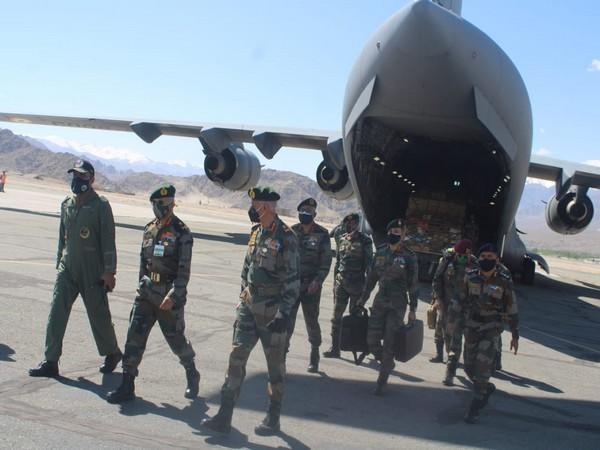 Vice Chief of Army Staff Lieutenant General C P Mohanty in Ladakh. (Photo/ANI)