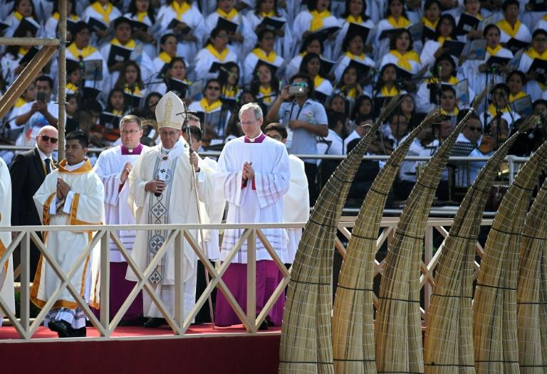 Pope Francis held a giant outdoor mass at a beach in Trujillo, on Peru's northern coast