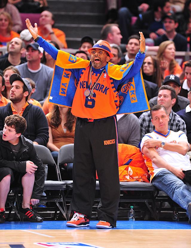 Spike Lee attends the Boston Celtics versus New York Knicks playoff Game 3 at Madison Square Garden on April 22, 2011, in New York City. (Photo: James Devaney/FilmMagic)