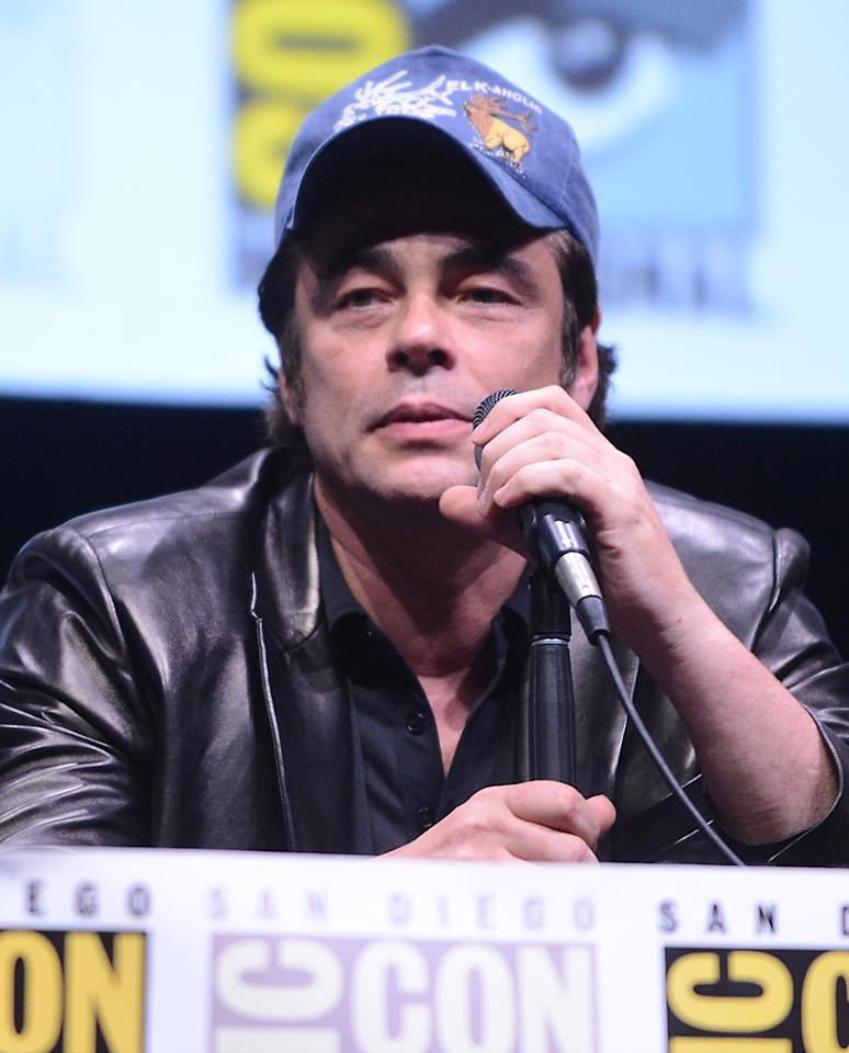 "SAN DIEGO, CA - JULY 20:  Actor Benicio Del Toro speaks onstage at Marvel Studios ""Thor: The Dark World"" and ""Captain America: The Winter Soldier"" during Comic-Con International 2013 at San Diego Convention Center on July 20, 2013 in San Diego, California.  (Photo by Albert L. Ortega/Getty Images)"