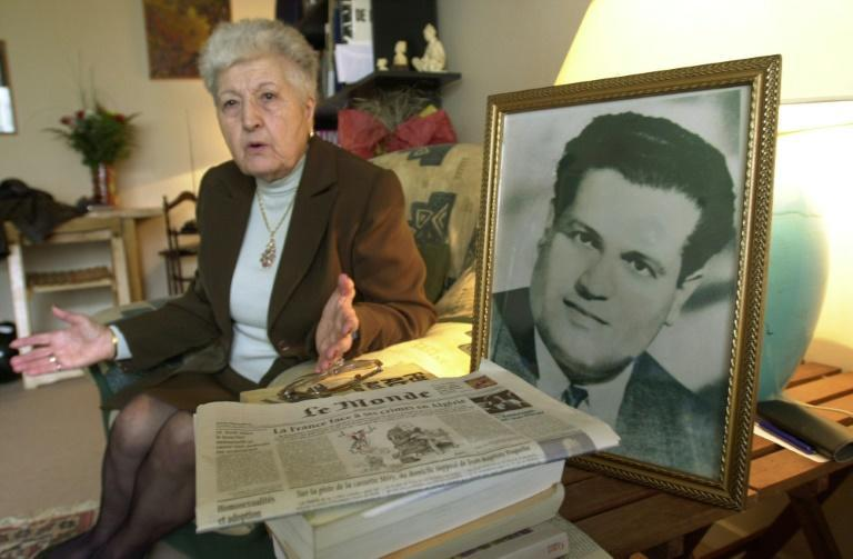 In this file photo taken in 2001 Malika Boumendjel, widow of Algerian lawyer Ali Boumendjel gives an interview at her home about her husband's death during his 43 days detention by the French army on March 23, 1957.
