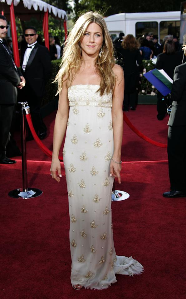 Jennifer Aniston wearing Chanel at the 56th Annual Primetime Emmy Awards at the Shrine Auditorium in Los Angeles, California. Photo courtesy of Getty Images.