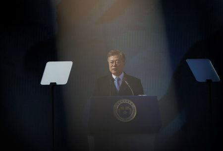 South Korean President Moon Jae-in delivers a speech during a ceremony celebrating the 99th anniversary of the March First Independence Movement against Japanese colonial rule, at Seodaemun Prison History Hall in Seoul, South Korea, March 1, 2018. REUTERS/Kim Hong-Ji