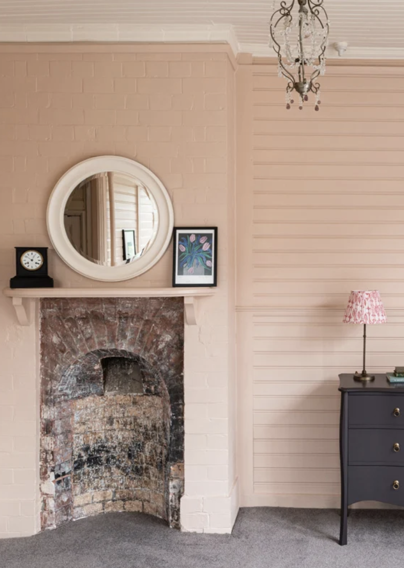 A dusty pink named after newly plastered houses. (Farrow & Ball)