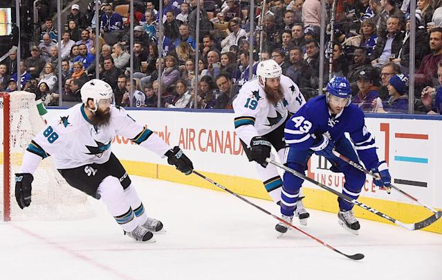 "<a class=""link rapid-noclick-resp"" href=""/nhl/players/1600/"" data-ylk=""slk:Joe Thornton"">Joe Thornton</a> and <a class=""link rapid-noclick-resp"" href=""/nhl/players/4687/"" data-ylk=""slk:Nazem Kadri"">Nazem Kadri</a> wouldn't appear to have much of a rivalry, but that didn't stop things from getting heating early on Thursday. (Getty Images)"