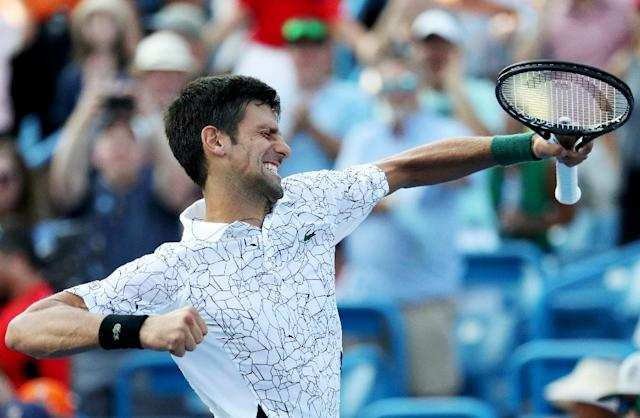 Novak Djokovic, who came up empty in five prior Cincinnati finals, defeated seven-time winner Roger Federer 6-4, 6-4 in the final (AFP Photo/Rob Carr)