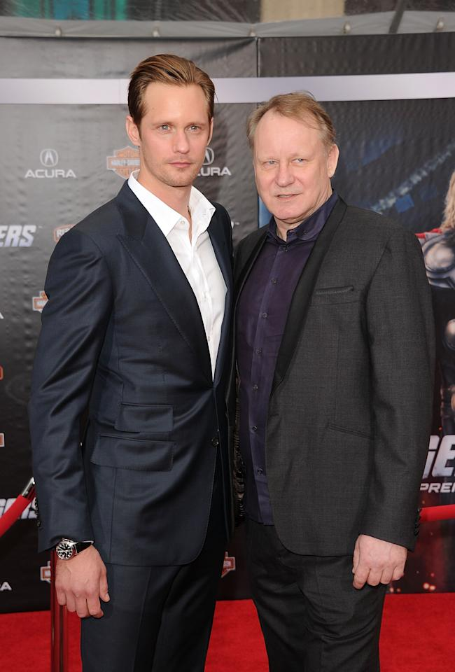 HOLLYWOOD, CA - APRIL 11:  Actors Stellan Skarsgard and Alexander Skarsgard arrive at the premiere of Marvel Studios' 'The Avengers' at the El Capitan Theatre on April 11, 2012 in Hollywood, California.  (Photo by Jason Merritt/Getty Images)