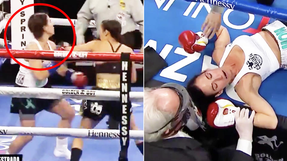 Seniesa Astrada (pictured left) punches her opponent and Miranda Adkins (pictured right) knocked out.
