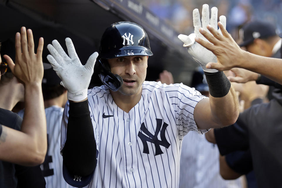 NEW YORK, NY - AUGUST 16: Joey Gallo #13 of the New York Yankees celebrates his two-run home run against the Los Angeles Angels during the first inning at Yankee Stadium on August 16, 2021 in New York City. (Photo by Adam Hunger/Getty Images)