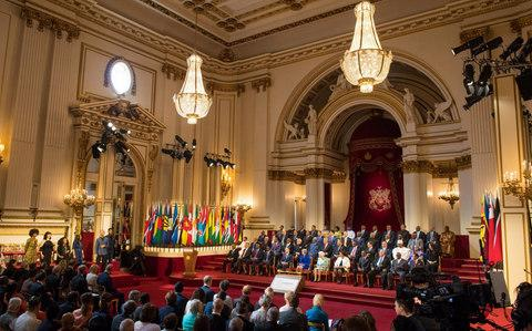 The formal opening of the Commonwealth Heads of Government Meeting in the ballroom at Buckingham Palace - Credit: Dominic Lipinski/PA
