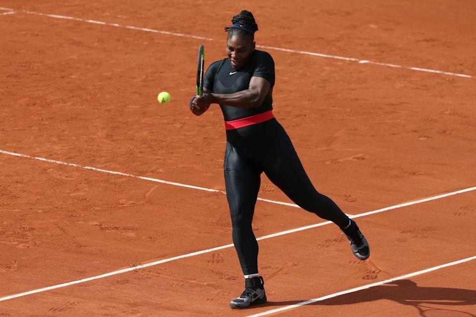 Serena made her mumback in a 'Black Panther' catsuit [Photo: Getty]