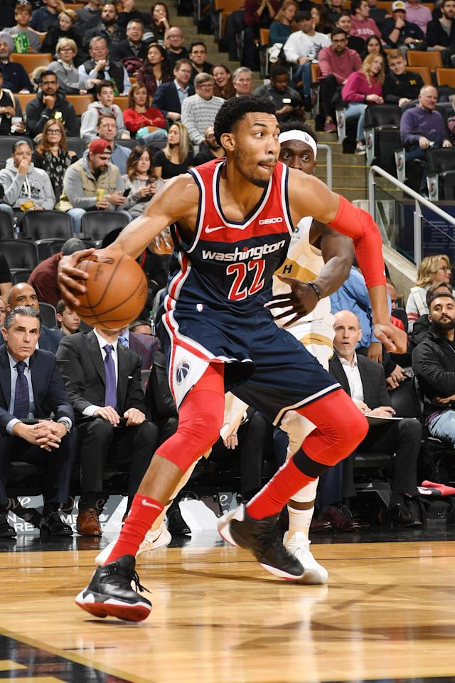 TORONTO, CANADA - NOVEMBER 23: Otto Porter Jr. #22 of the Washington Wizards handles the ball during the game against the Toronto Raptors on November 23, 2018 at the Scotiabank Arena in Toronto, Ontario, Canada. (Photo by Ron Turenne/NBAE via Getty Images)