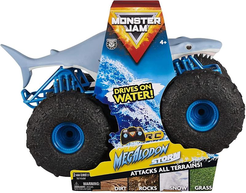 """<a href=""""https://amzn.to/3mAghLH"""" target=""""_blank"""" rel=""""noopener noreferrer"""">This toy</a> has awater-resistant design and tires so kids can drive it through water. It comes with a controller (but no batteries) and is rechargeable with a USB.<a href=""""https://amzn.to/3mAghLH"""" target=""""_blank"""" rel=""""noopener noreferrer"""">Find it for $44 at Amazon</a>."""