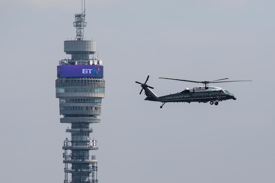The Marine One helicopter flies past the BT Tower. Photo: Jack Taylor/Getty Images