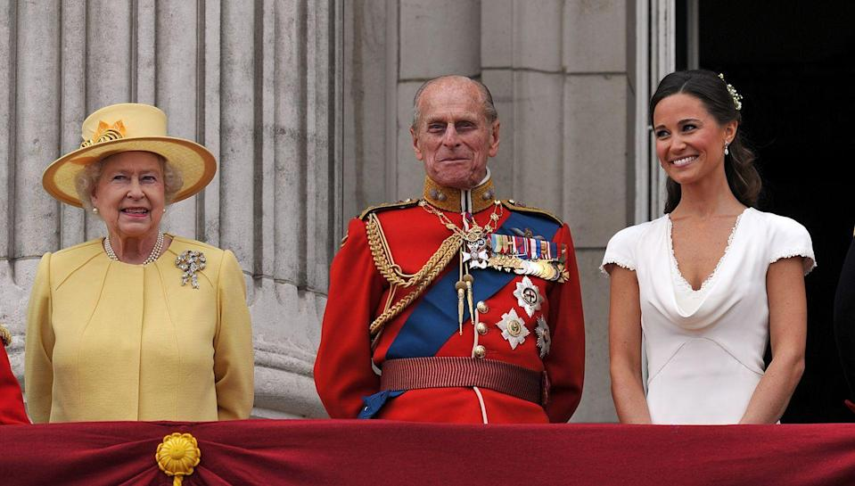 <p>Queen Elizabeth II, Prince Philip, and Pippa Middleton on the balcony at Buckingham Palace after the Royal Wedding of Prince William to Catherine Middleton on April 29, 2011.</p>