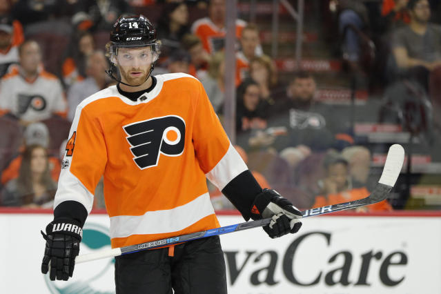 "<a class=""link rapid-noclick-resp"" href=""/nhl/teams/phi/"" data-ylk=""slk:Philadelphia Flyers"">Philadelphia Flyers</a>' <a class=""link rapid-noclick-resp"" href=""/nhl/players/5369/"" data-ylk=""slk:Sean Couturier"">Sean Couturier</a> deserves more fantasy attention behind a strong start to the NHL season. (AP Photo/Chris Szagola)"